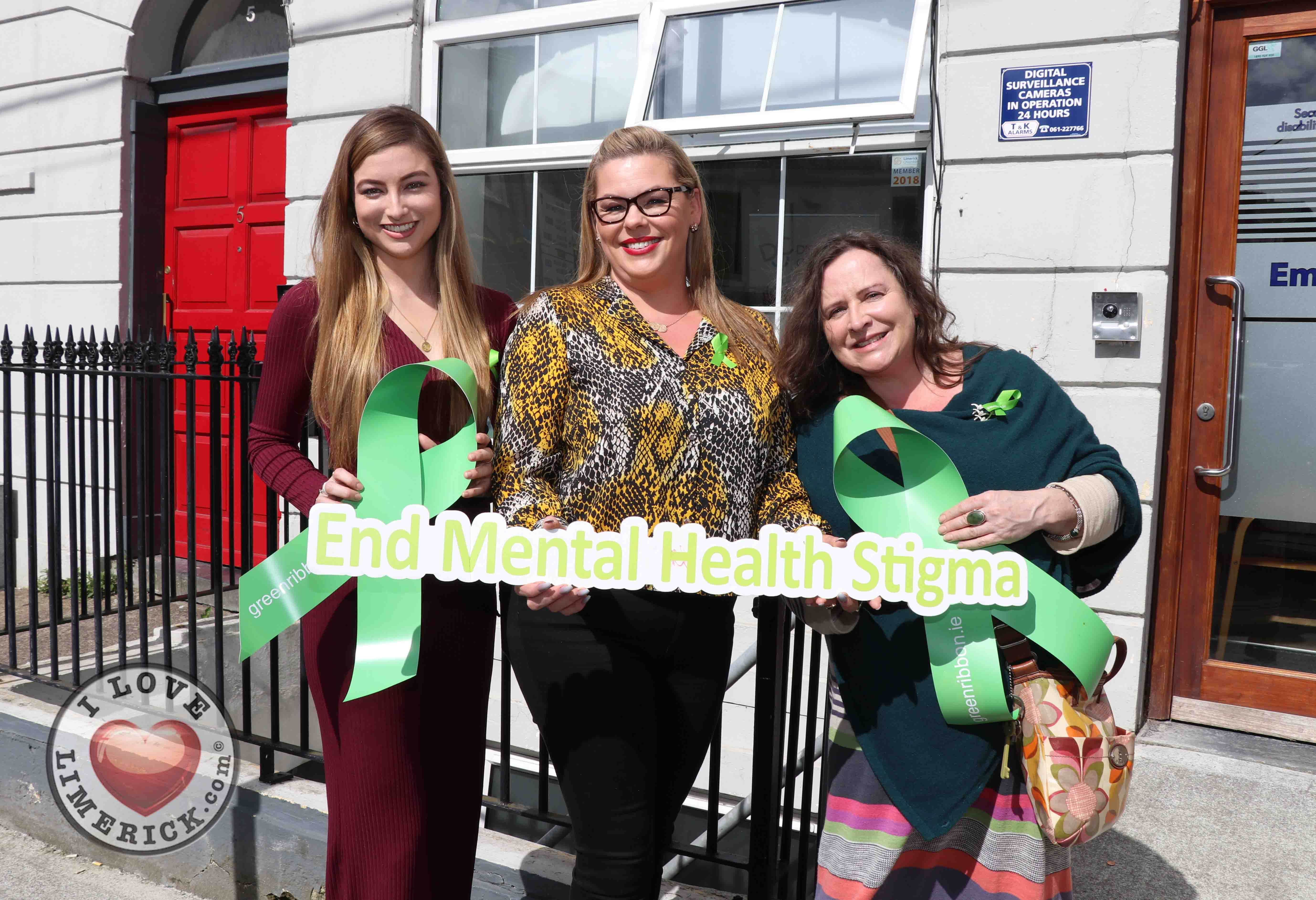 Pictured at the EmployAbility Limerick Office for the launch of the upcoming Green Ribbon campaign and 'Time to talk' day on Tuesday May 7th are Meghann Scully, Mental Health Advocate, Ursula Mackenzie, EmployAbility Limerick, and Amanda Clifford, A.B.C for Mental Health. Picture: Conor Owens/ilovelimerick.