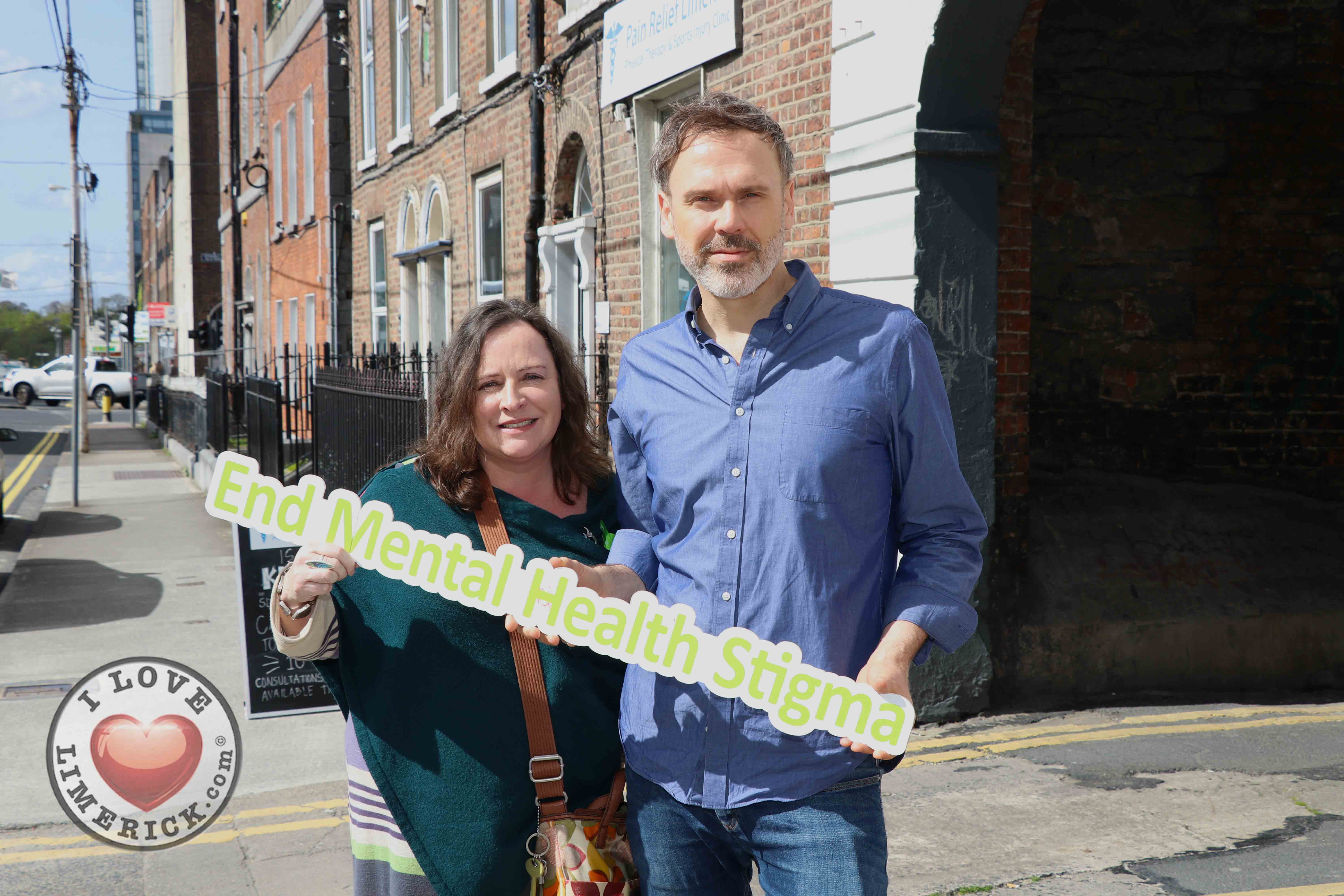 Pictured at the EmployAbility Limerick Office for the launch of the upcoming Green Ribbon campaign and 'Time to talk' day on Tuesday May 7th are Amanda Clifford, A.B.C for Mental Health, and Richard Lynch, founder of ilovelimerick.com. Picture: Conor Owens/ilovelimerick.