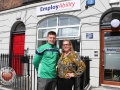 Pictured at the EmployAbility Limerick Office for the launch of the upcoming Green Ribbon campaign and 'Time to talk' day on Tuesday May 7th are Kevin Downes, Limerick Senior hurler, and Ursula Mackenzie, EmployAbility Limerick. Picture: Conor Owens/ilovelimerick.
